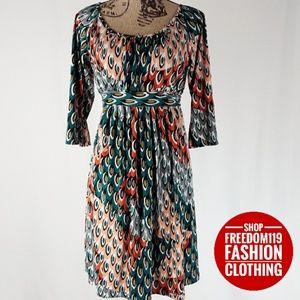 AGB | Print 3/4 Sleeve Elastic/Tie Midi Dress (8)